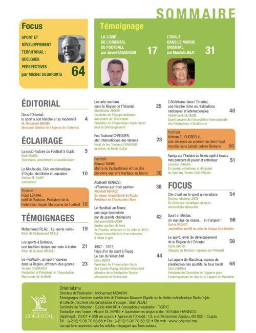 Oriental.ma n°21 VF : Sport, développement et inclusion sociale : Gloires anciennes et ambitions nouvelles